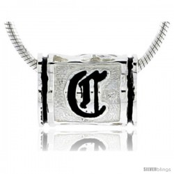 Sterling Silver Hawaiian Initial Letter C Barrel Bead Pendant, 1/2 in wide