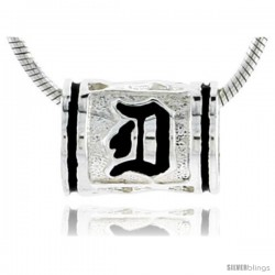 Sterling Silver Hawaiian Initial Letter D Barrel Bead Pendant, 1/2 in wide