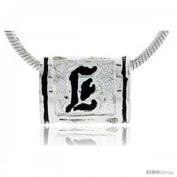 Sterling Silver Hawaiian Initial Letter E Barrel Bead Pendant, 1/2 in wide
