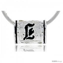 Sterling Silver Hawaiian Initial Letter E Barrel Bead Pendant, 1/2 in wide