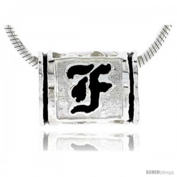 Sterling Silver Hawaiian Initial Letter F Barrel Bead Pendant, 1/2 in wide