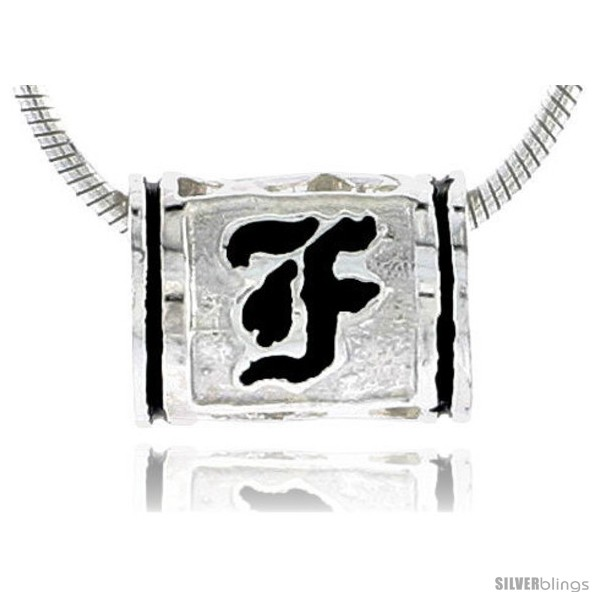 Sterling silver hawaiian initial letter f barrel bead pendant 12 undefined mozeypictures Gallery