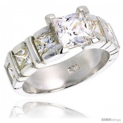 Sterling Silver 5.00 Carat Size Princess Cut Cubic Zirconia Bridal Ring, 5/16 in (8 mm) wide