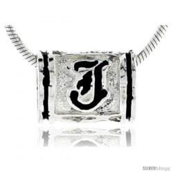 Sterling Silver Hawaiian Initial Letter J Barrel Bead Pendant, 1/2 in wide