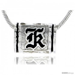Sterling Silver Hawaiian Initial Letter K Barrel Bead Pendant, 1/2 in wide