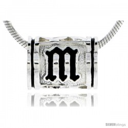 Sterling Silver Hawaiian Initial Letter M Barrel Bead Pendant, 1/2 in wide