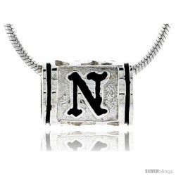 Sterling Silver Hawaiian Initial Letter N Barrel Bead Pendant, 1/2 in wide