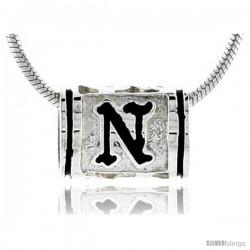 Sterling Silver Hawaiian Initial Letter N Barrel Bead Pendant, 1/2 in wide