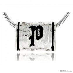 Sterling Silver Hawaiian Initial Letter P Barrel Bead Pendant, 1/2 in wide