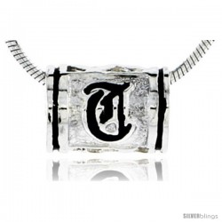 Sterling Silver Hawaiian Initial Letter Q Barrel Bead Pendant, 1/2 in wide