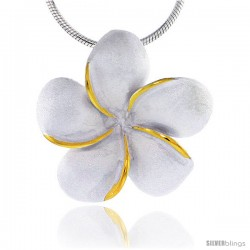 Hawaiian Theme Sterling Silver 2-Tone Plumeria Flower Slider Pendant, 1 (25 mm) tall