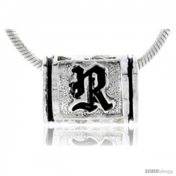 Sterling Silver Hawaiian Initial Letter R Barrel Bead Pendant, 1/2 in wide