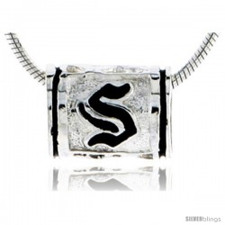 Sterling Silver Hawaiian Initial Letter S Barrel Bead Pendant, 1/2 in wide