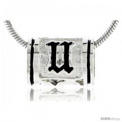 Sterling Silver Hawaiian Initial Letter U Barrel Bead Pendant, 1/2 in wide
