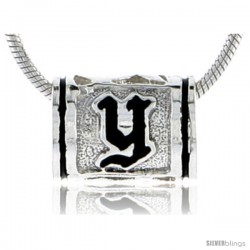 Sterling Silver Hawaiian Initial Letter Y Barrel Bead Pendant, 1/2 in wide