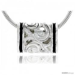 Hawaiian Theme Sterling Silver Black Enamel, Barrel Bead Pendant, 3/8 (10 mm) wide