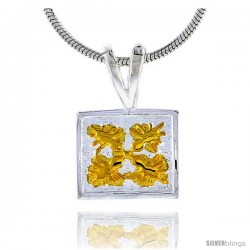 Hawaiian Theme Sterling Silver 2-Tone Square Flower Pendant, 3/8 (10 mm) tall