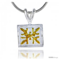 Hawaiian Theme Sterling Silver 2-Tone Square Flower Pendant, 3/8 (10 mm) tall -Style 6hp8