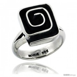 Sterling Silver Square shape Swirl Ring 5/8 in wide
