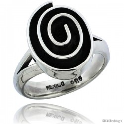 Sterling Silver Oval shape Swirl Ring 11/16 in wide