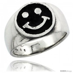 Sterling Silver Happy Face Wedding Band Ring, 1/2 in wide