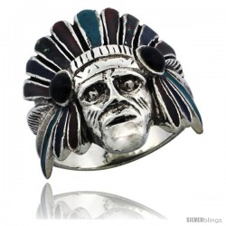 Sterling Silver Indian Chief Ring w/ Colored Enamel War Bonnet, 1 in wide