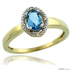 14k Yellow Gold Diamond Halo Blue Topaz Ring 0.75 Carat Oval Shape 6X4 mm, 3/8 in (9mm) wide