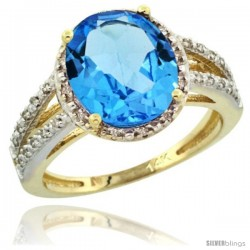 14k Yellow Gold Diamond Halo Blue Topaz Ring 2.85 Carat Oval Shape 11X9 mm, 7/16 in (11mm) wide