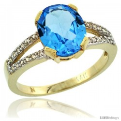 14k Yellow Gold and Diamond Halo Blue Topaz Ring 2.4 carat Oval shape 10X8 mm, 3/8 in (10mm) wide