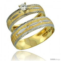 10k Gold 2-Piece Diamond Engagement Ring & Wedding Band Set his & Hers 0.10 cttw Rhodium Accent Diamond-cut -Style 10y502em