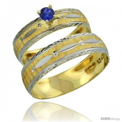 10k Gold 2-Piece 0.25 Carat Deep Blue Sapphire Ring Set (Engagement Ring & Man's Wedding Band) Diamond-cut -Style 10y502em