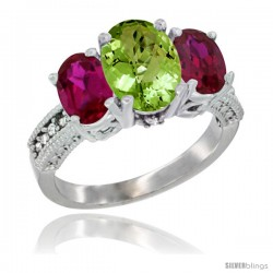 10K White Gold Ladies Natural Peridot Oval 3 Stone Ring with Ruby Sides Diamond Accent