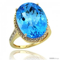 14k Yellow Gold Diamond Swiss Blue Topaz Ring 13.56 Carat Oval Shape 18x13 mm, 3/4 in (20mm) wide