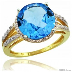 14k Yellow Gold Diamond Swiss Blue Topaz Ring 5.25 ct Round Shape 11 mm, 1/2 in wide