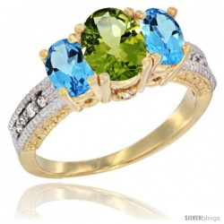 14k Yellow Gold Ladies Oval Natural Peridot 3-Stone Ring with Swiss Blue Topaz Sides Diamond Accent