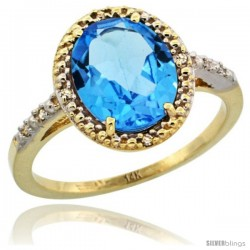 14k Yellow Gold Diamond Swiss Blue Topaz Ring 2.4 ct Oval Stone 10x8 mm, 1/2 in wide -Style Cy404111