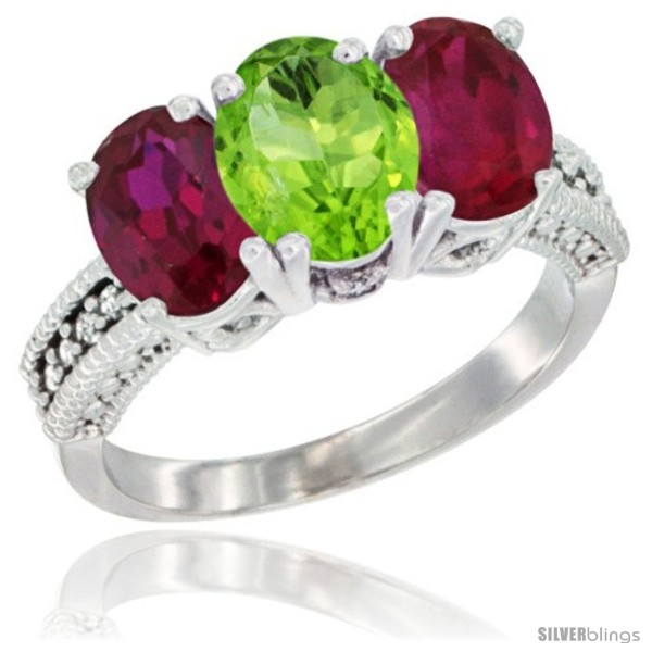 https://www.silverblings.com/2533-thickbox_default/10k-white-gold-natural-peridot-ruby-sides-ring-3-stone-oval-7x5-mm-diamond-accent.jpg