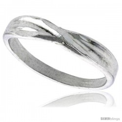 Sterling Silver Freeform Ring Polished finish 3/16 in wide -Style Ffr589