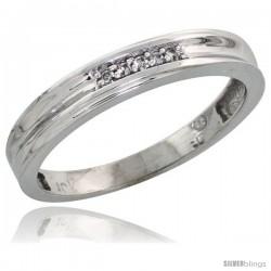 10k White Gold Ladies' Diamond Wedding Band, 1/8 in wide -Style 10w119lb