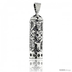 Sterling Silver Mezuzah Pendant Tubular Shape w/ Floral Pattern, 1 in. (25 mm) tall