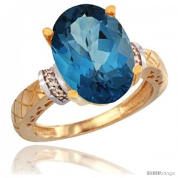 10k Yellow Gold Diamond London Blue Topaz Ring 5.5 ct Oval 14x10 Stone