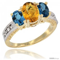 10K Yellow Gold Ladies Oval Natural Whisky Quartz 3-Stone Ring with London Blue Topaz Sides Diamond Accent
