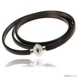 Surgical Steel Italian Leather Wrap Massai Bracelet w/ Super Magnet Clasp, Color Brown