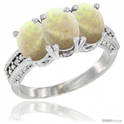 10K White Gold Natural Opal Ring 3-Stone Oval 7x5 mm Diamond Accent