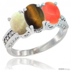 10K White Gold Natural Opal, Tiger Eye & Coral Ring 3-Stone Oval 7x5 mm Diamond Accent