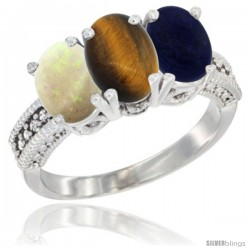 10K White Gold Natural Opal, Tiger Eye & Lapis Ring 3-Stone Oval 7x5 mm Diamond Accent