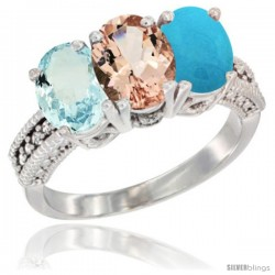 14K White Gold Natural Aquamarine, Morganite & Turquoise Ring 3-Stone Oval 7x5 mm Diamond Accent