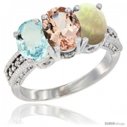 14K White Gold Natural Aquamarine, Morganite & Opal Ring 3-Stone Oval 7x5 mm Diamond Accent
