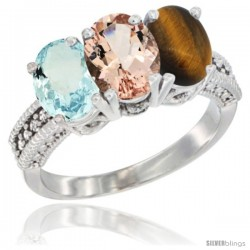 14K White Gold Natural Aquamarine, Morganite & Tiger Eye Ring 3-Stone Oval 7x5 mm Diamond Accent