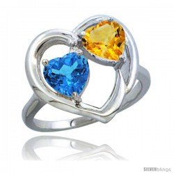 14k White Gold 2-Stone Heart Ring 6mm Natural Swiss Blue & Citrine Diamond Accent